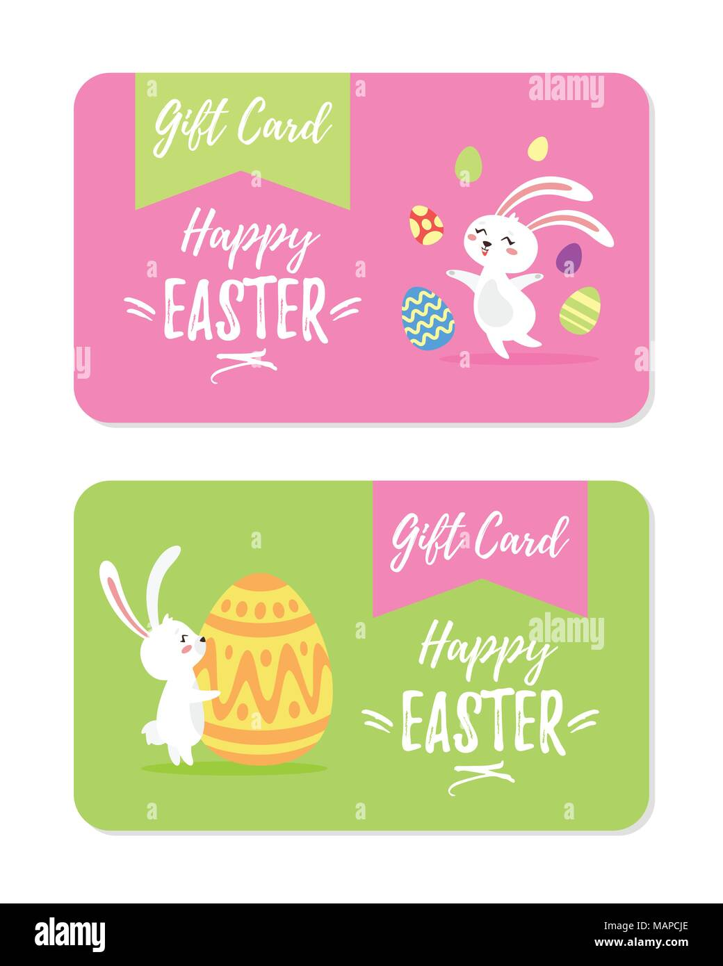 vector cartoon style illustration of happy ester gift cards design