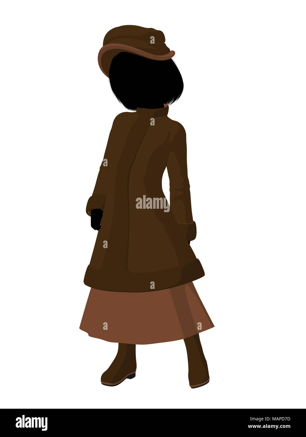ba7097c4203 Victorian girl silhouette on a white background Stock Photo ...