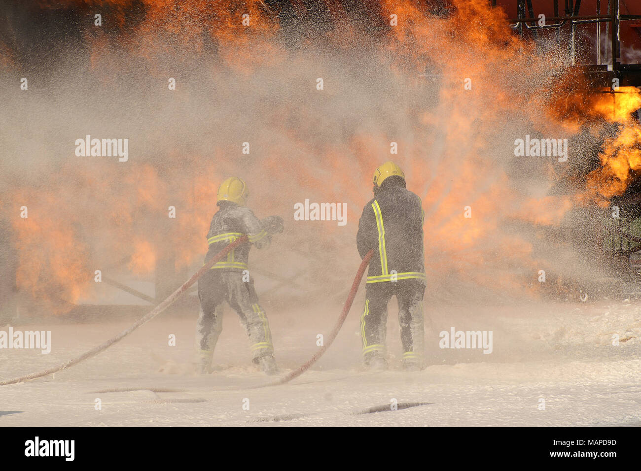 Large Incident Fire Map.Fire Fighters Fishing Large Fire Incident Ground Stock Photo