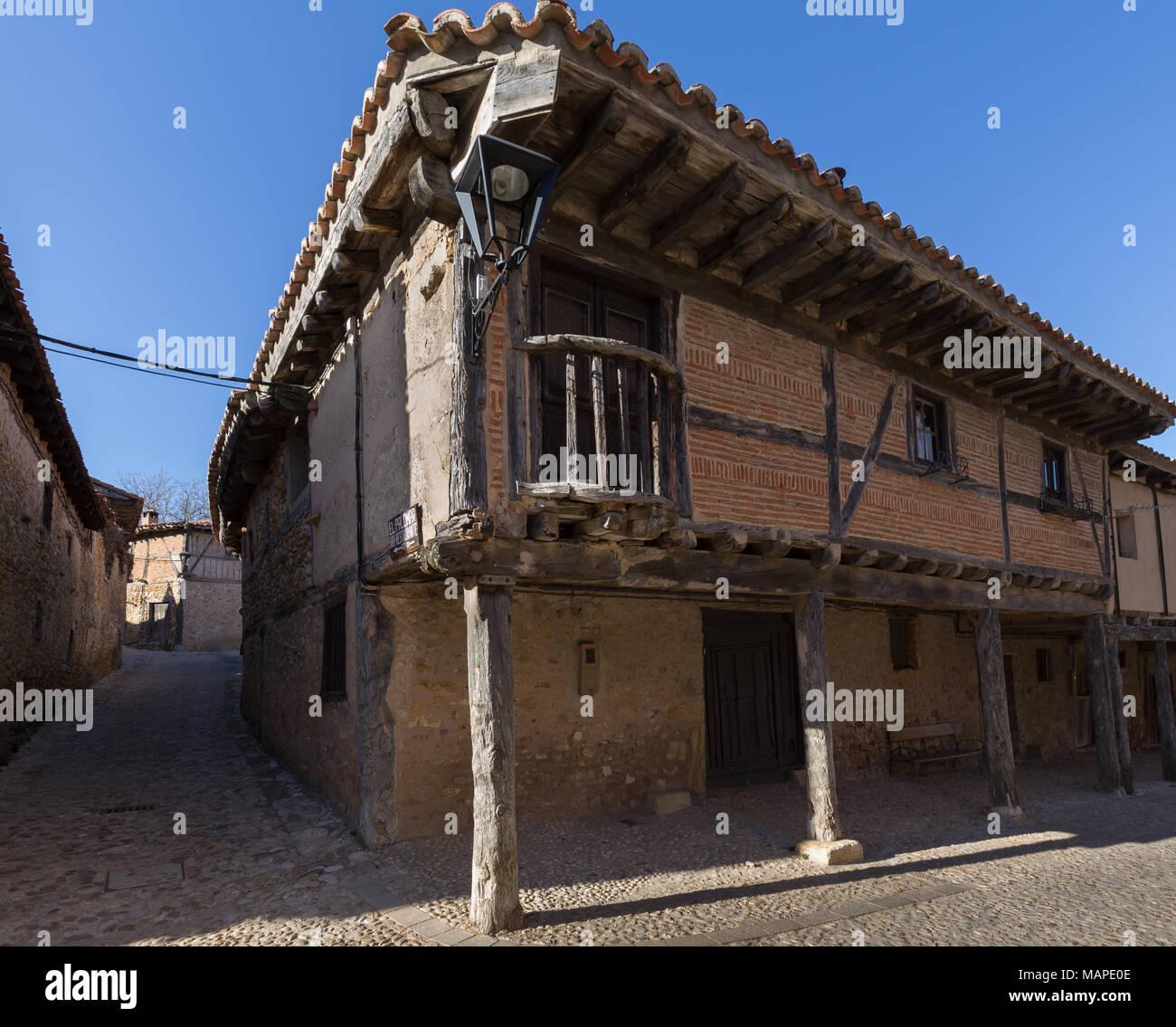 Facade of an ancient building in Calatanazor, Soria Stock Photo