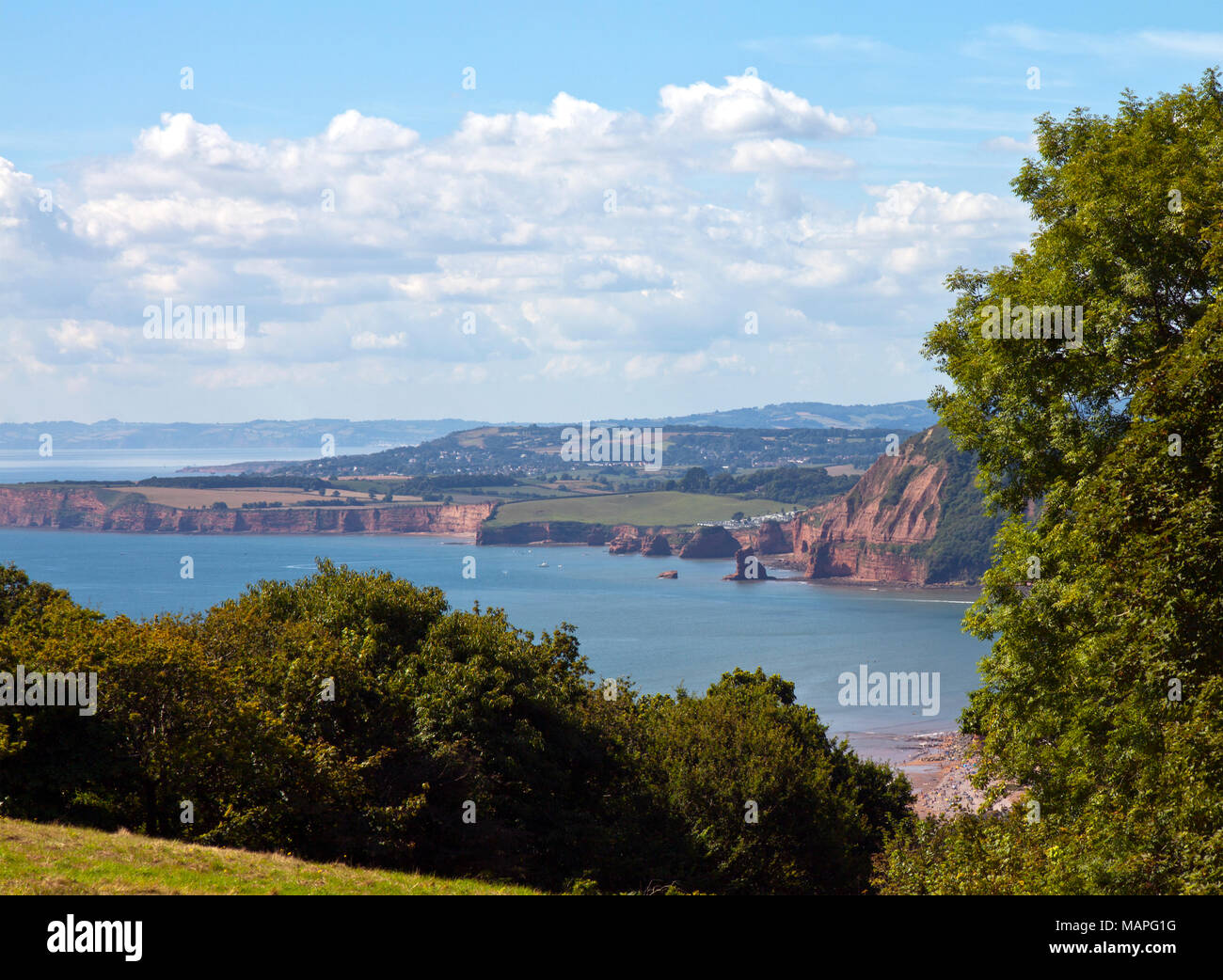 View of the Jurassic Coast (Triassic Period) at Sidmouth, East Devon, England, from the bluffs of Salcombe Hill. - Stock Image