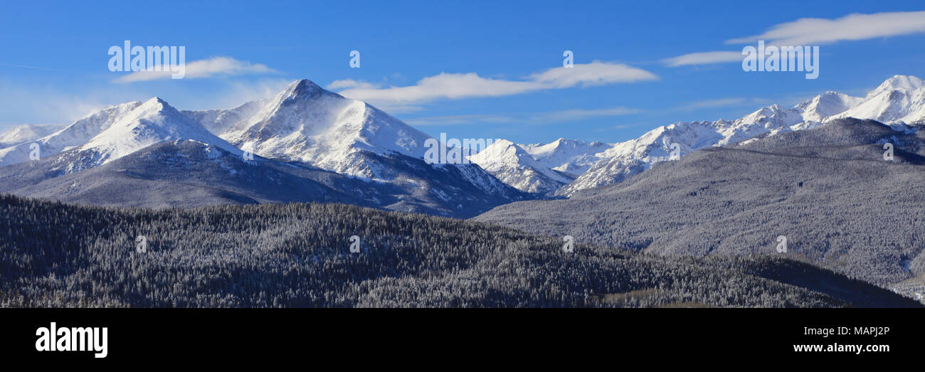 Mount of the Holy Cross Wilderness from Vail ski resort covered in winter snow - Stock Image
