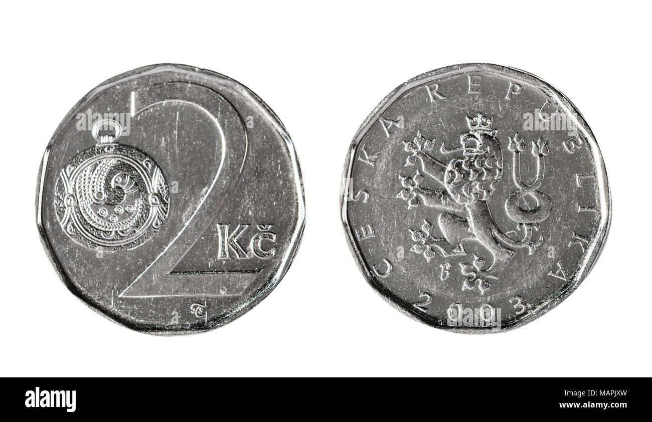 Two Czech koruna 2003. Isolated object on a white background. - Stock Image