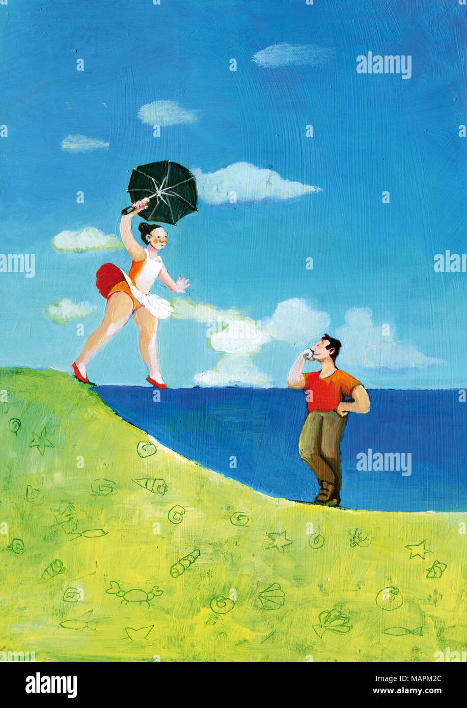 dancer balancing on the horizon of the sea as if it were a balancing rope, boy leaning on the sea like a wall watching her in love - Stock Image