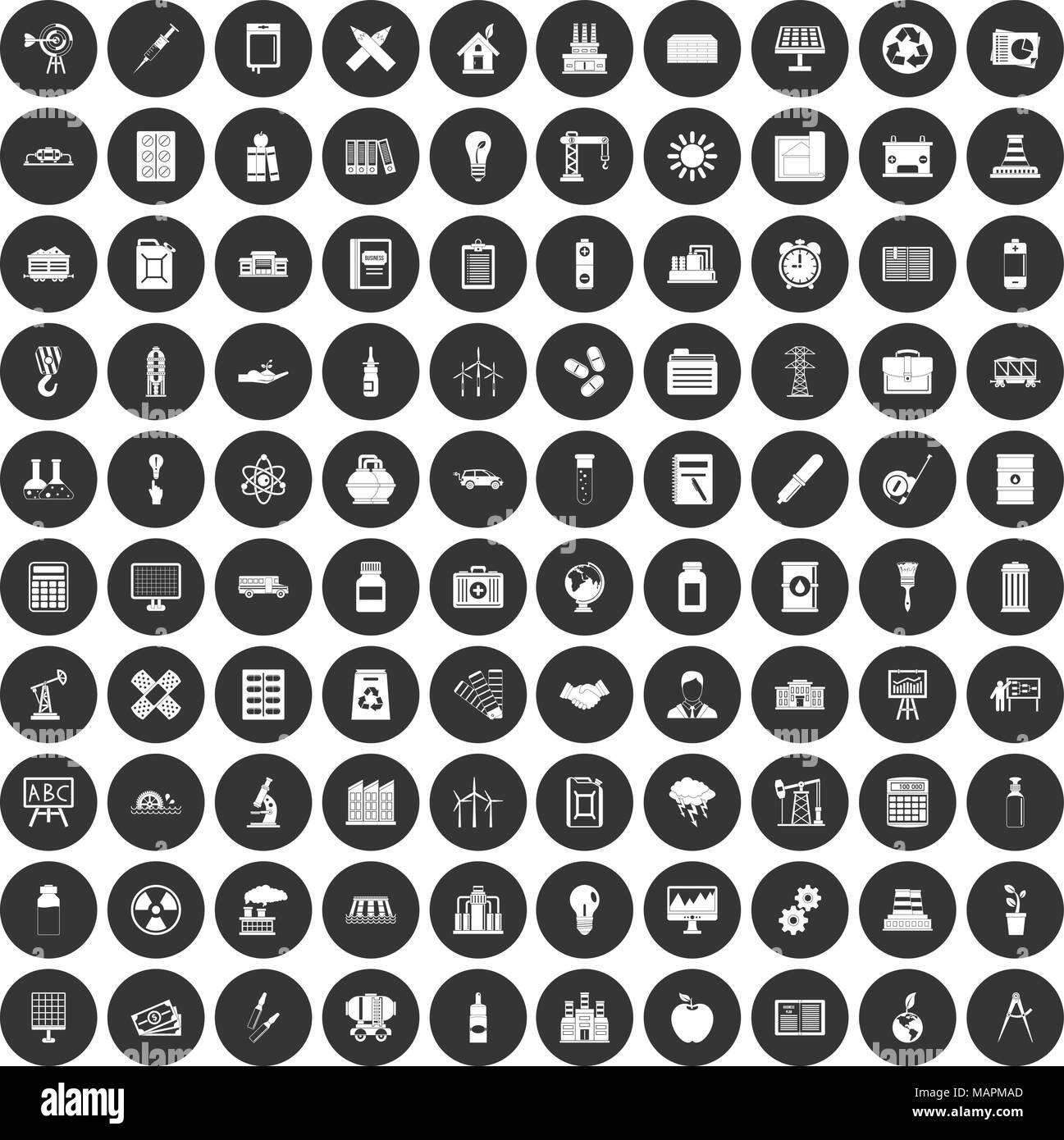 100 company icons set black circle Stock Vector
