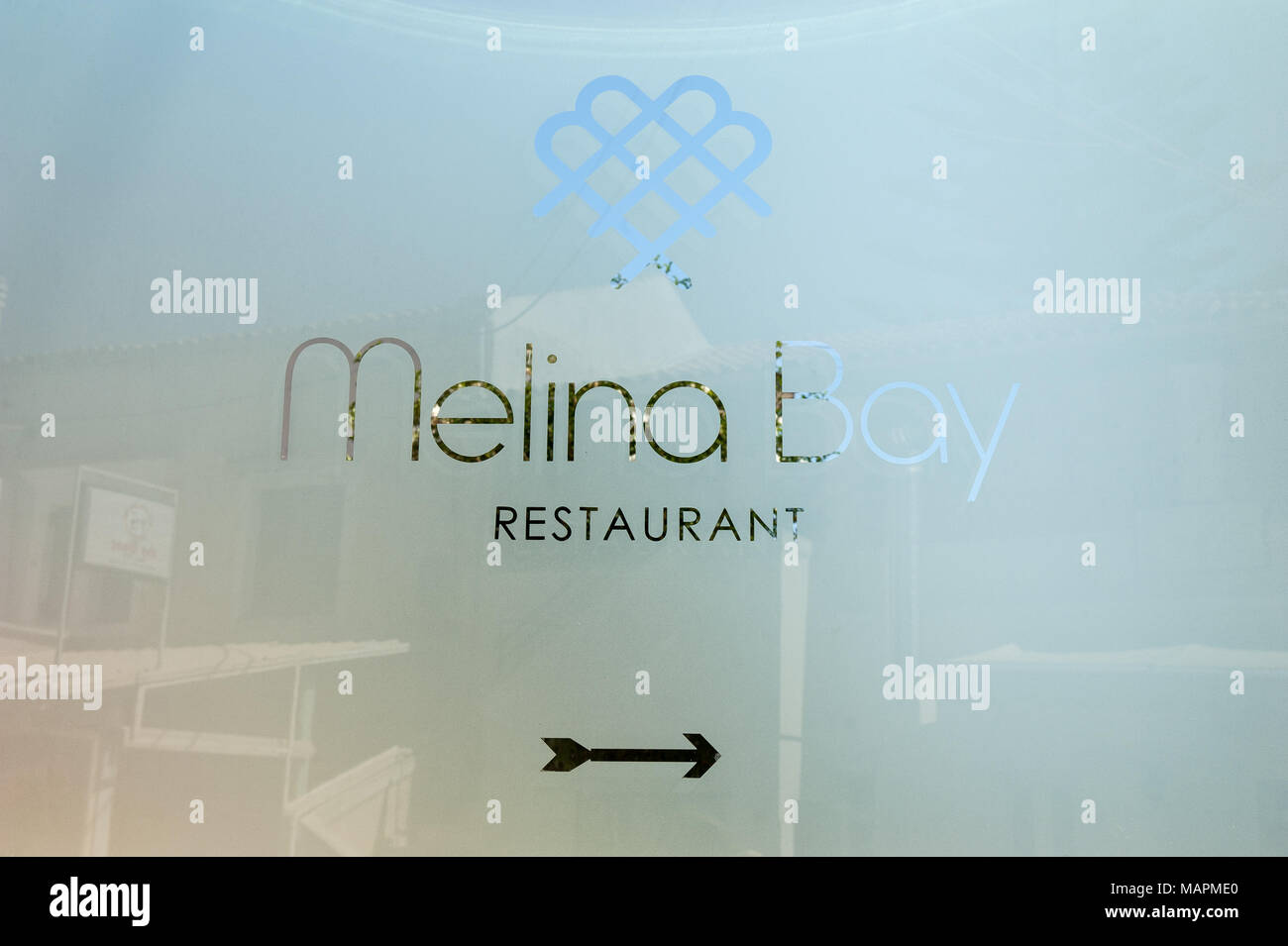 Melina bay restaurant in Kassiopi, Corfu, Ionian Islands, Greece, Europe - Stock Image
