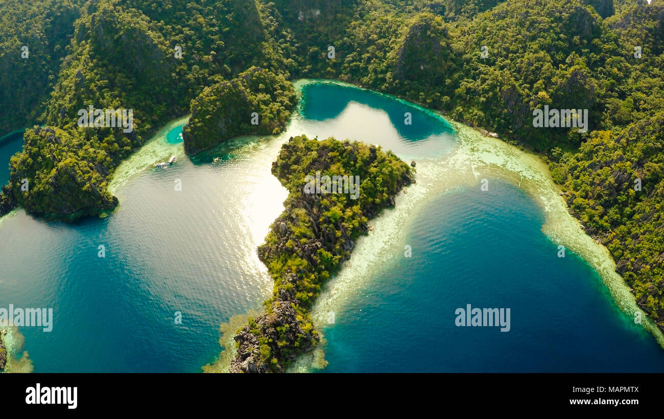 Coron Palawan Philippines Aerial View Of Beautiful Twin