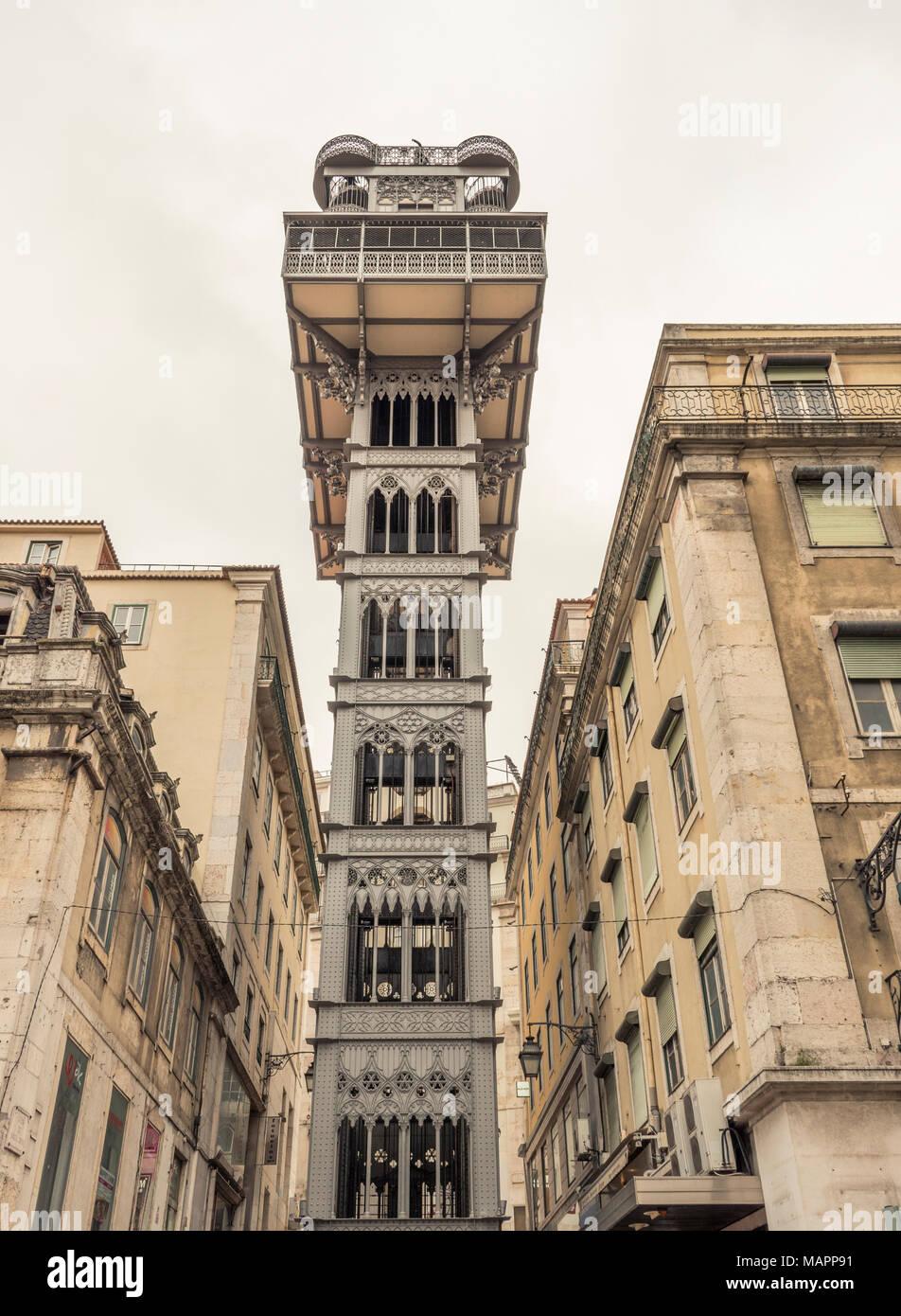 The Elevador de Santa Justa, Lisbon, Portugal Stock Photo ... on alto do pina lisbon, portugal lisbon, santos-o-velho lisbon, prazeres lisbon, campo grande lisbon, castelo lisbon, alvalade lisbon,