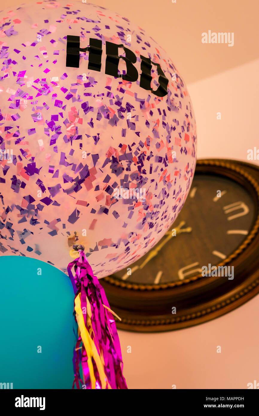 Happy Birthday Balloons Rose Stock Photo