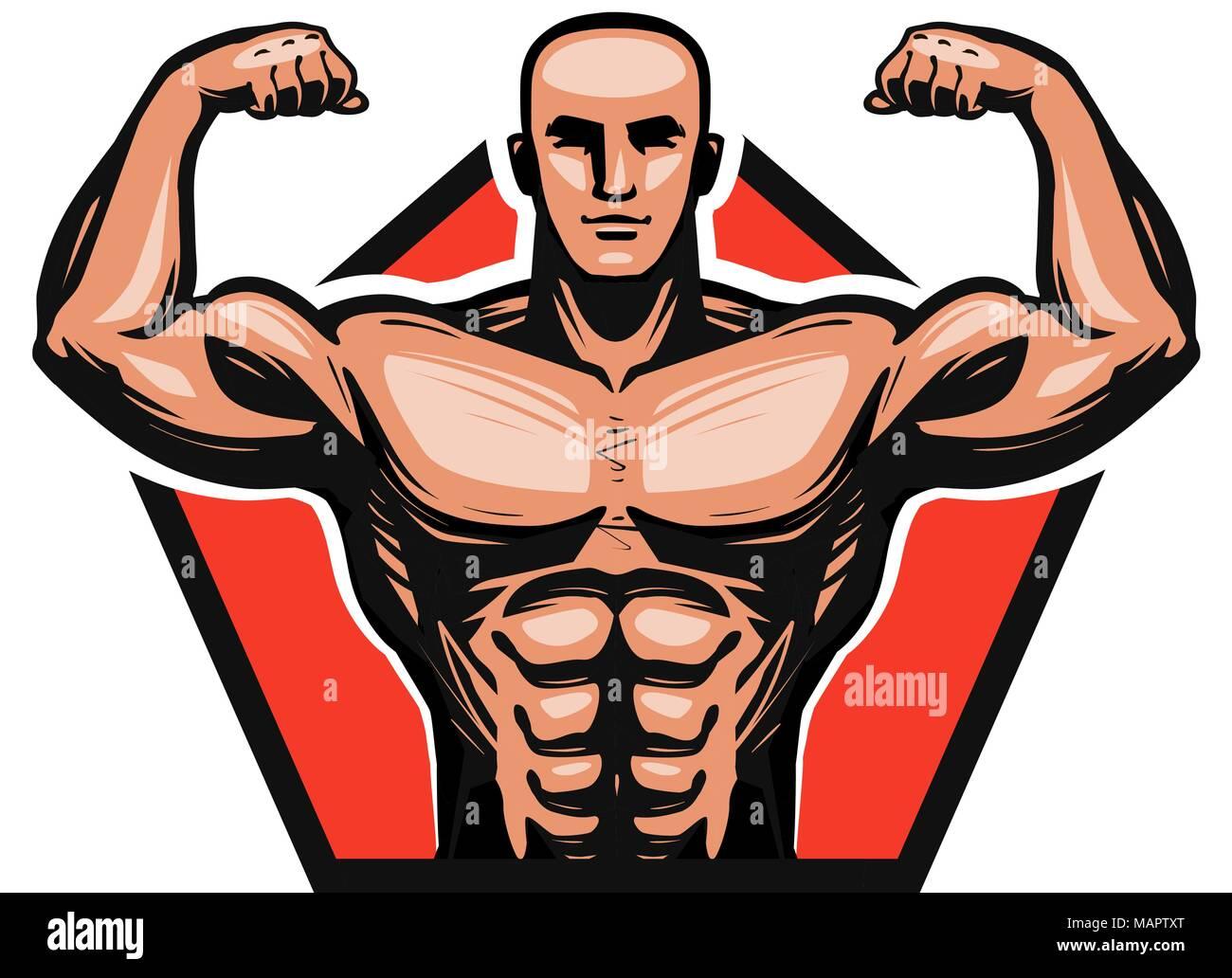 Gym, bodybuilding, fitness logo or label. Muscle male or bodybuilder. Vector illustration - Stock Vector