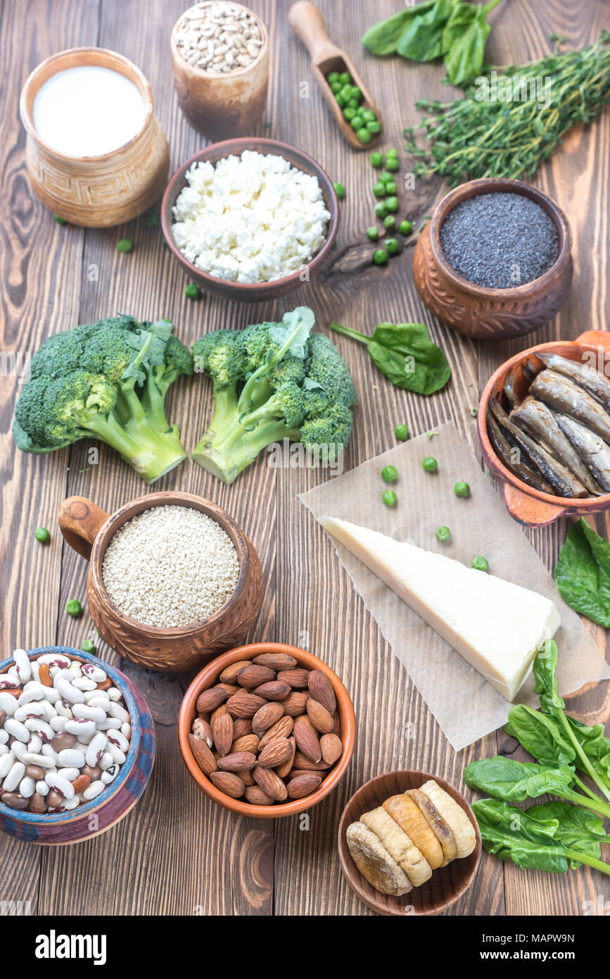 Food rich in calcium - Stock Image