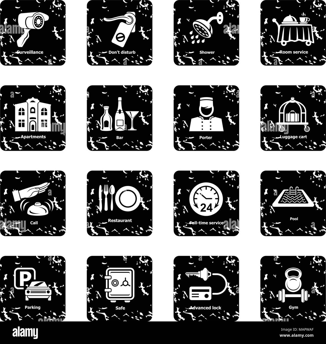 Hotel service icons set grunge vector - Stock Image