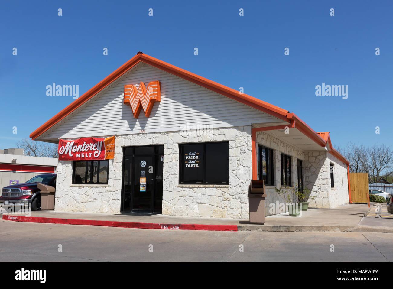 whataburger burger store austin texas usa stock image
