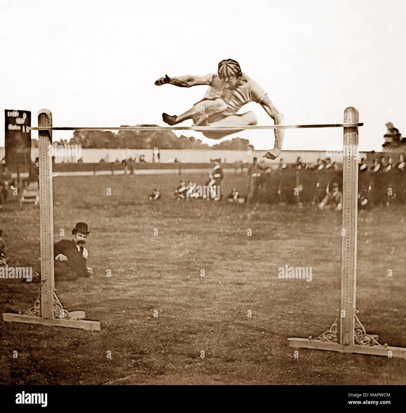 High Jump, Athletics, Victorian period - Stock Image