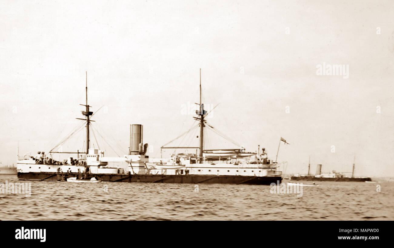 HMS Ajax, early 1900s - Stock Image