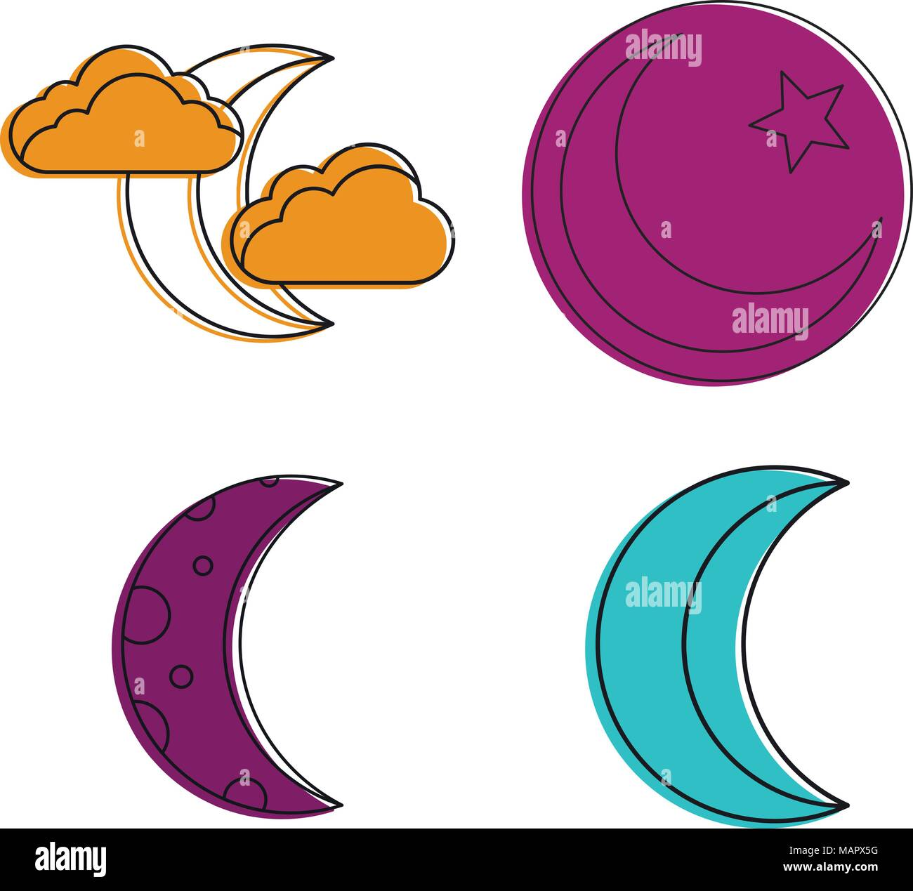 Moon icon set, color outline style - Stock Image