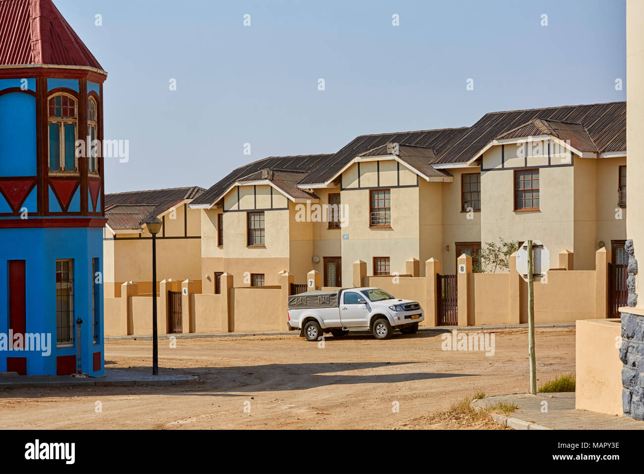 Kirch Street and Berk street in Luderitz with colonial architecture, Namibia, Africa - Stock Image