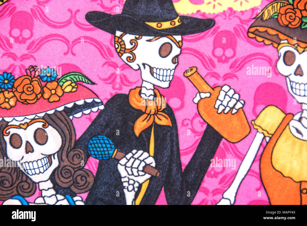 Day of the Dead caricatures. Baja, Mexico. - Stock Image