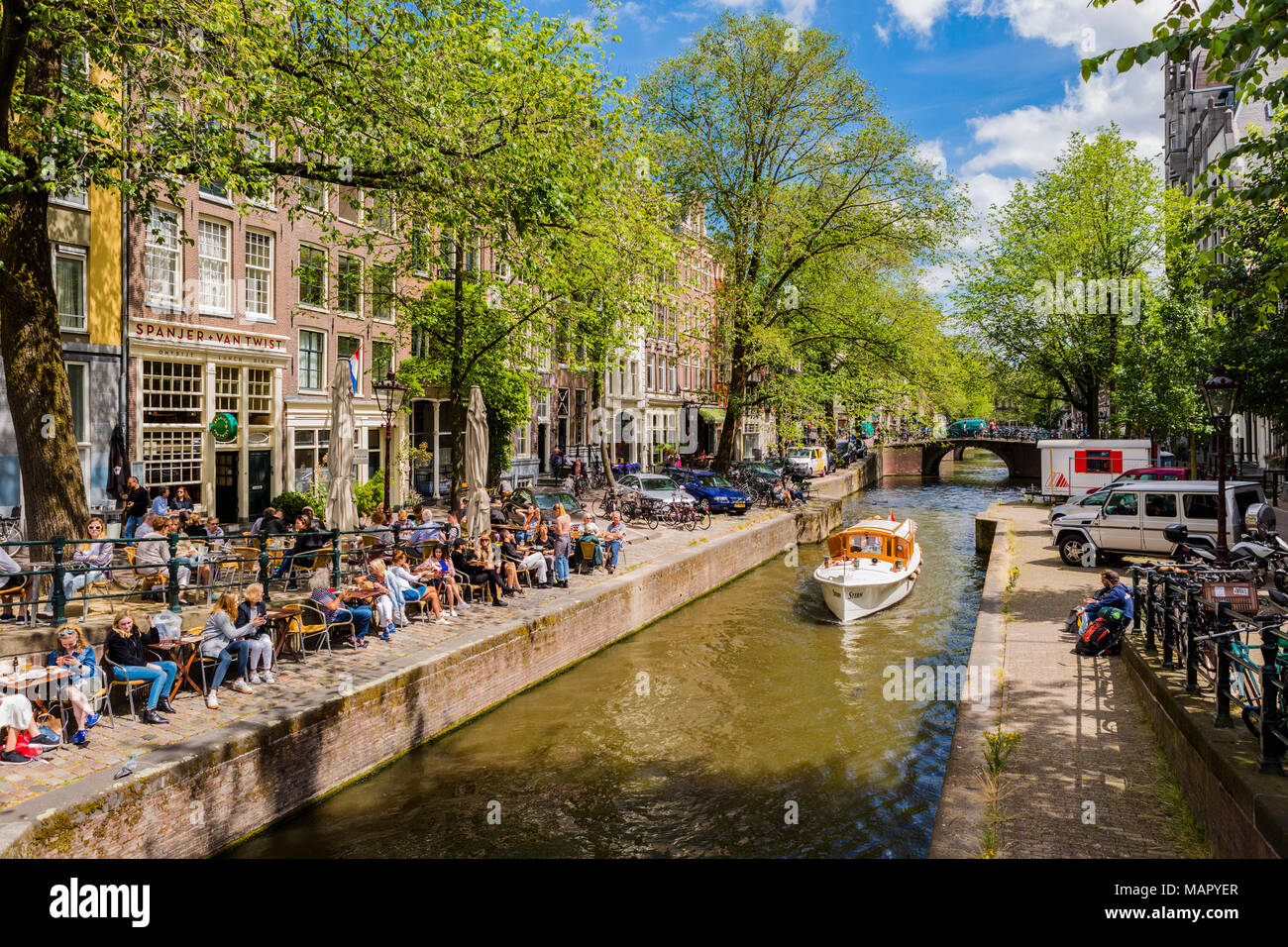 Boat on the Prinsengracht Canal, Amsterdam, Netherlands, Europe - Stock Image
