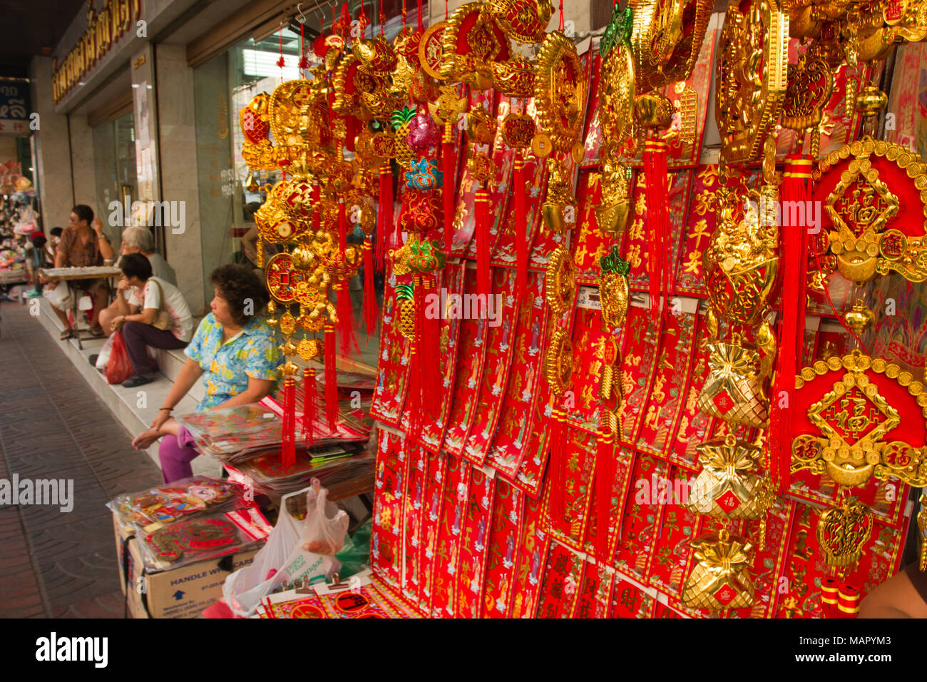 Chinese New Year lucky charms, China Town, Bangkok, Thailand, Southeast Asia, Asia - Stock Image