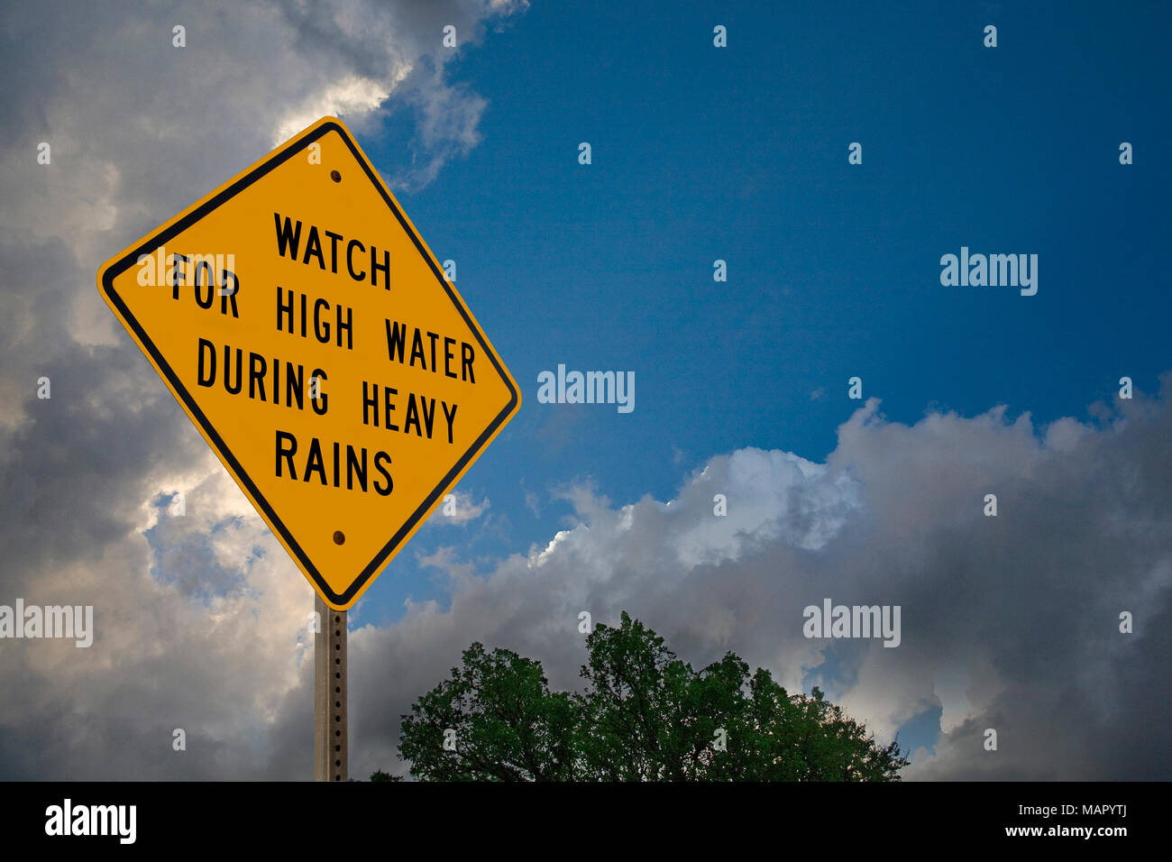 High Water Warning Sign In a Horizontal Format - Stock Image