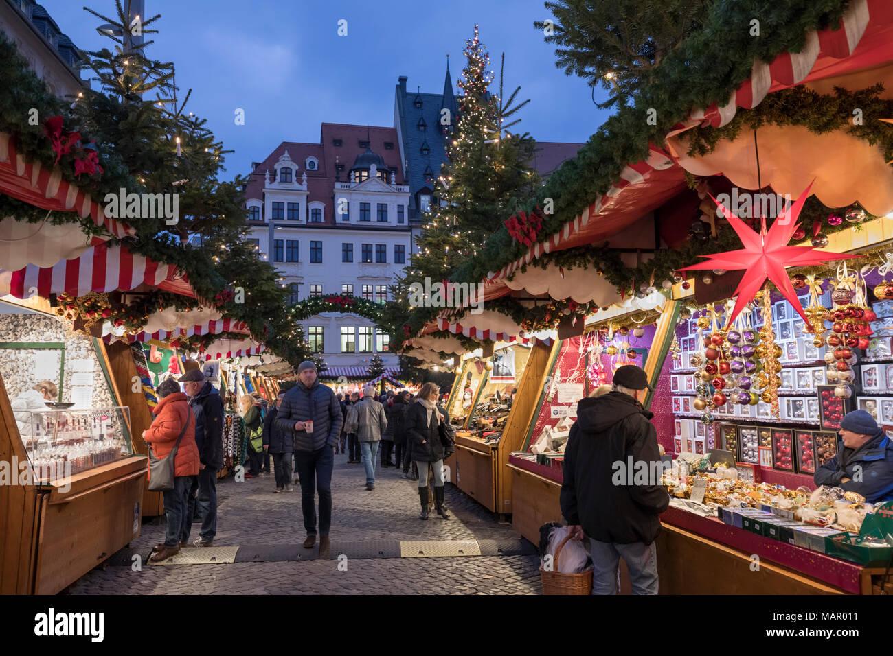Christmas market in the Leipzig Market Place, Marktplatz, Leipzig, Saxony, Germany, Europe - Stock Image