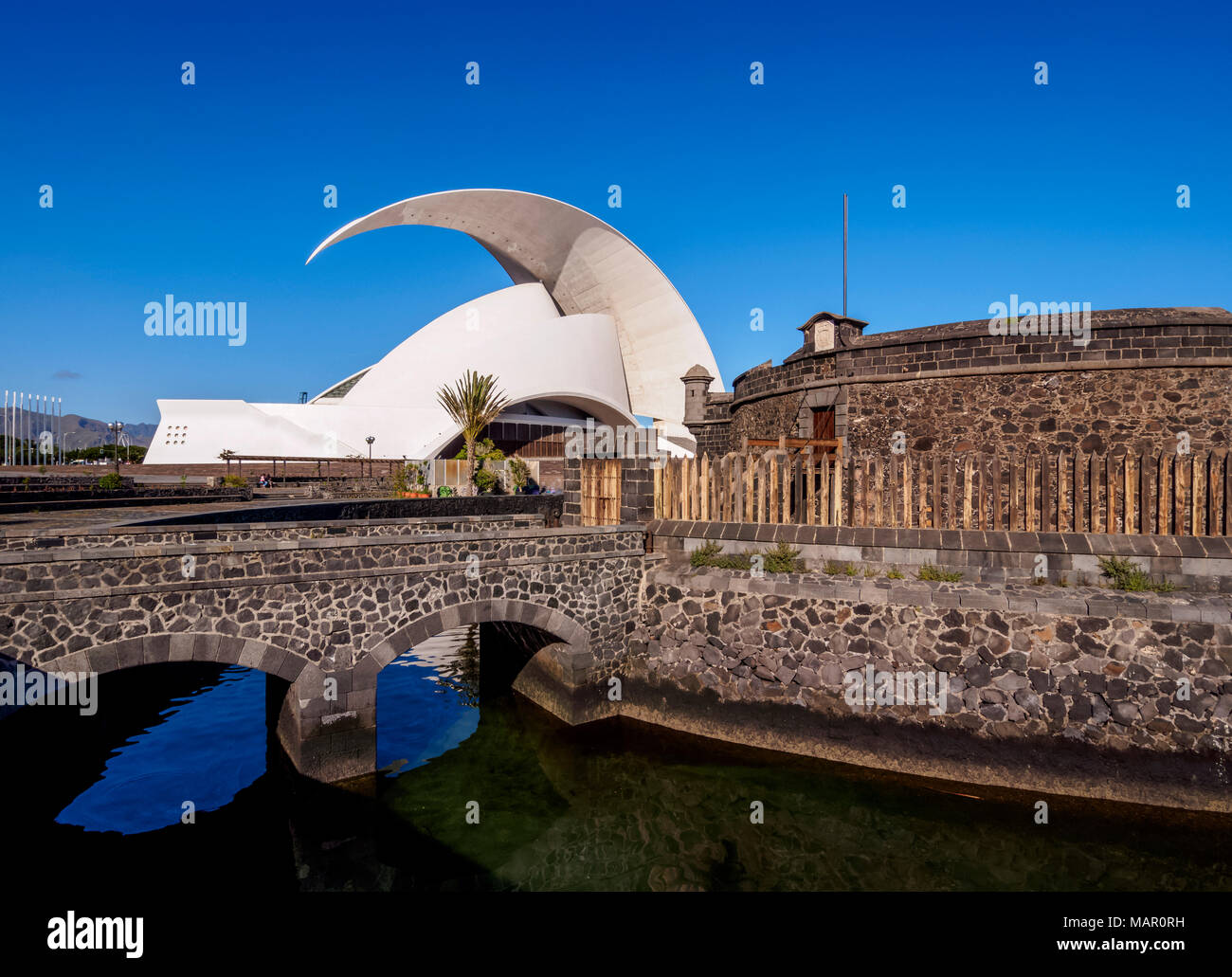 Castle of San Juan Bautista and Auditorium Adan Martin, Santa Cruz de Tenerife, Tenerife Island, Canary Islands, Spain, Europe - Stock Image