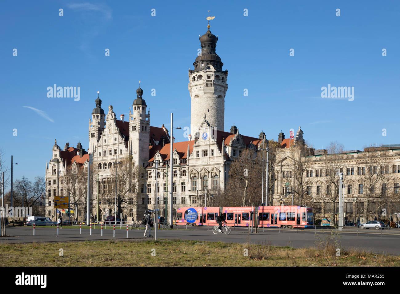 New Town Hall Leipzig Saxony Germany Europe Stock Photo Alamy