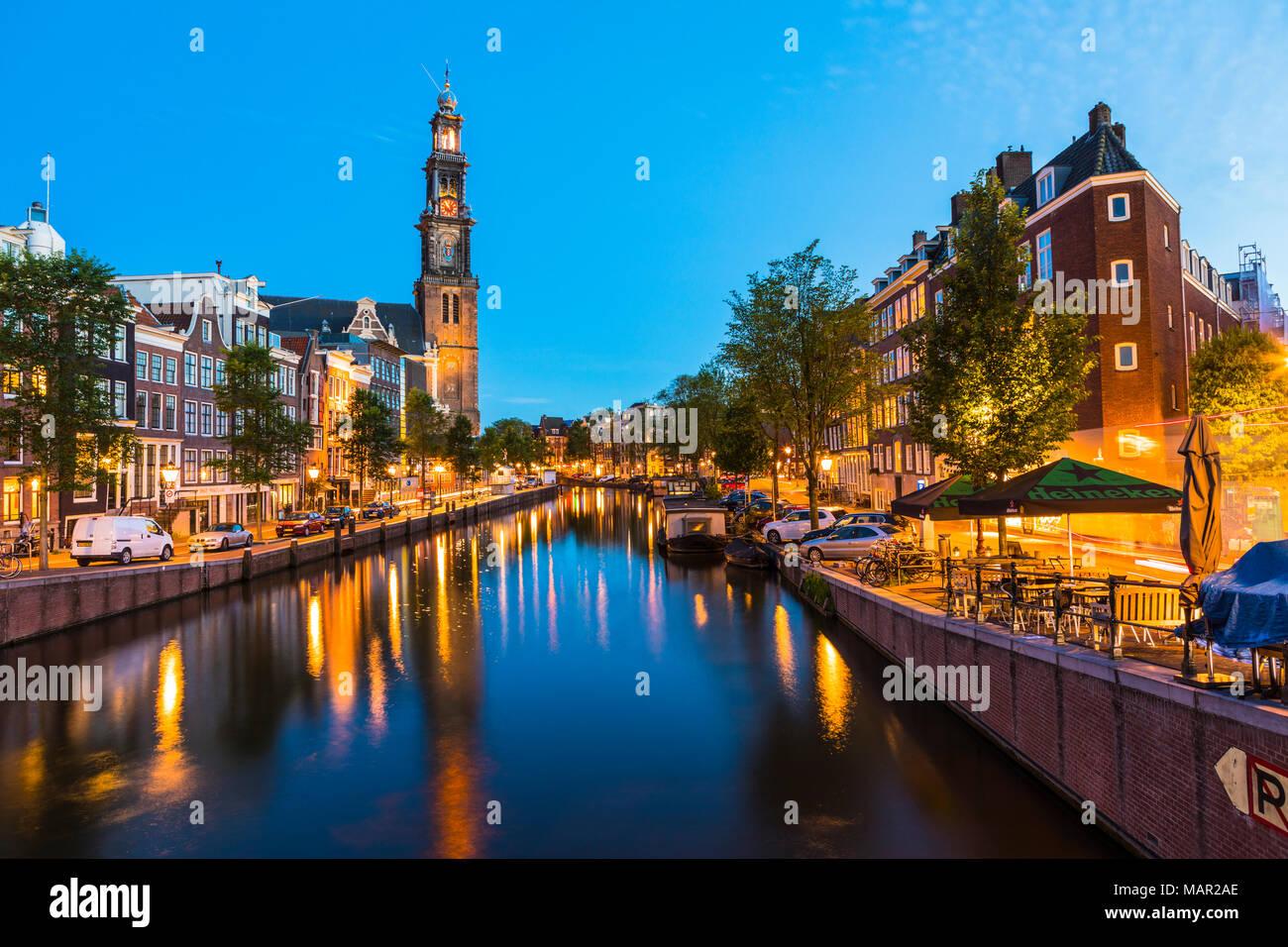 Prinsengracht Canal and Westerkerk, Amsterdam, Netherlands, Europe - Stock Image