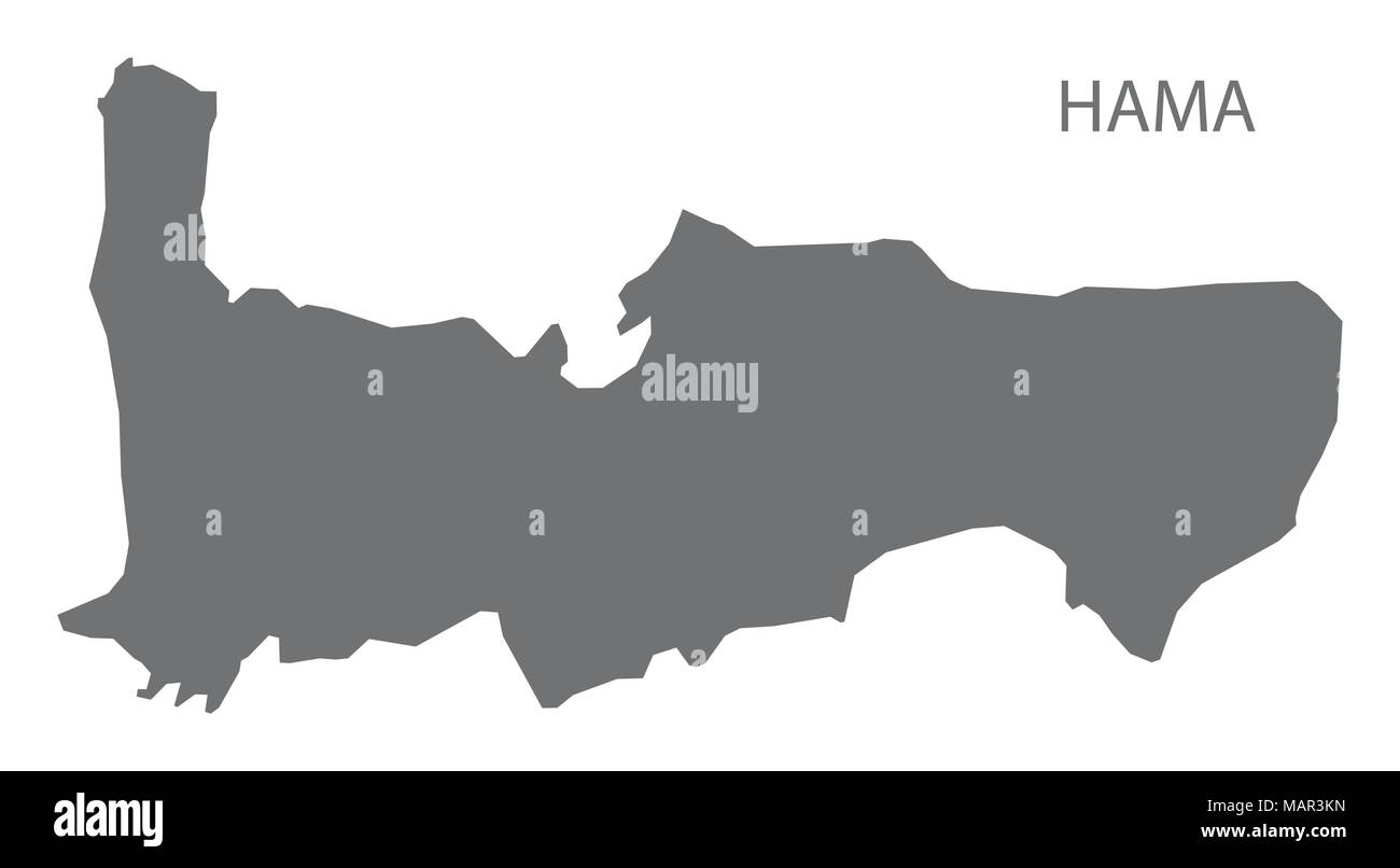Hama map of Syria grey illustration shape Stock Vector Art ...