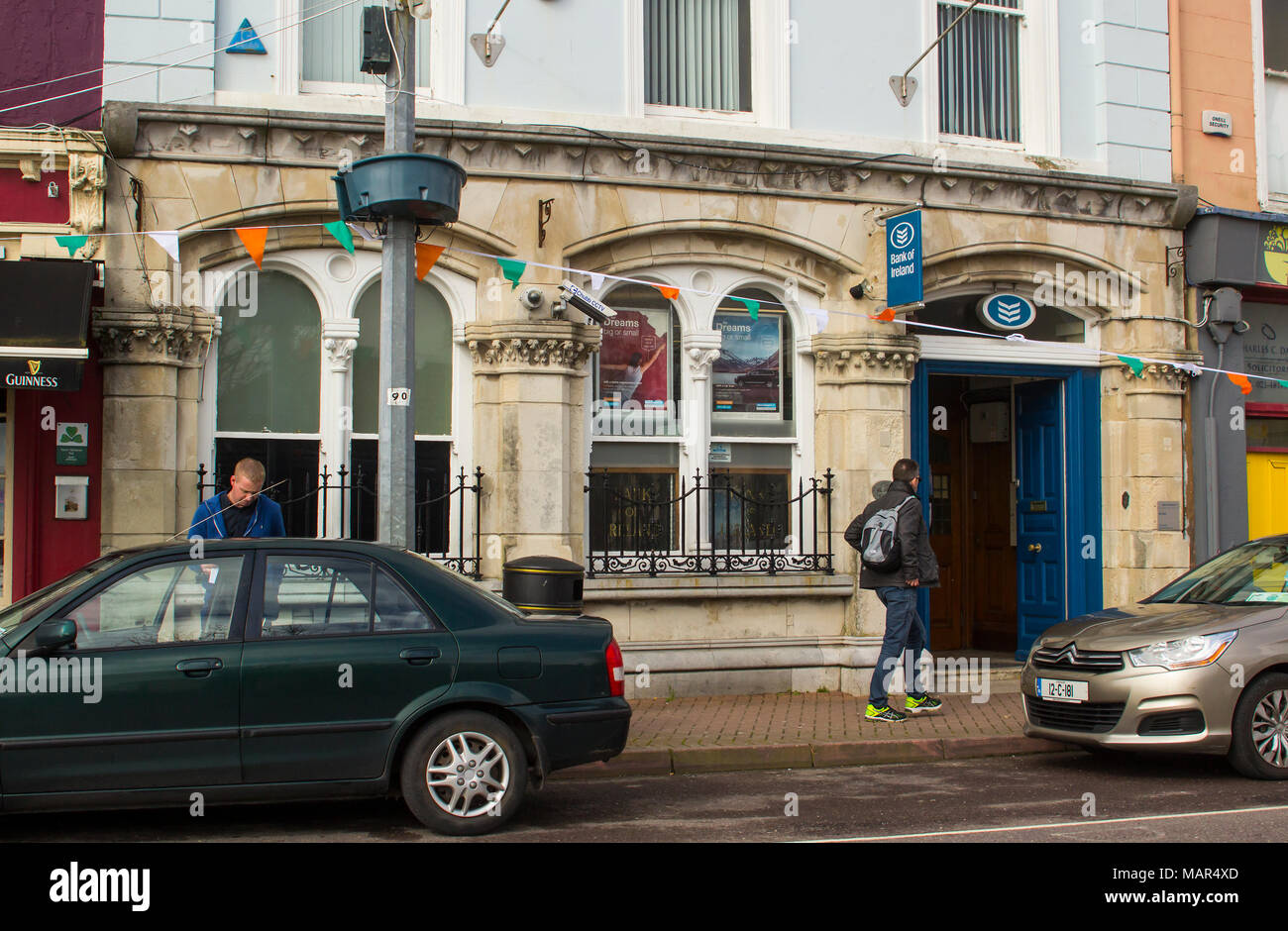 A branch of the Bank of Ireland on the main street in Cobh in County Cork Ireland - Stock Image