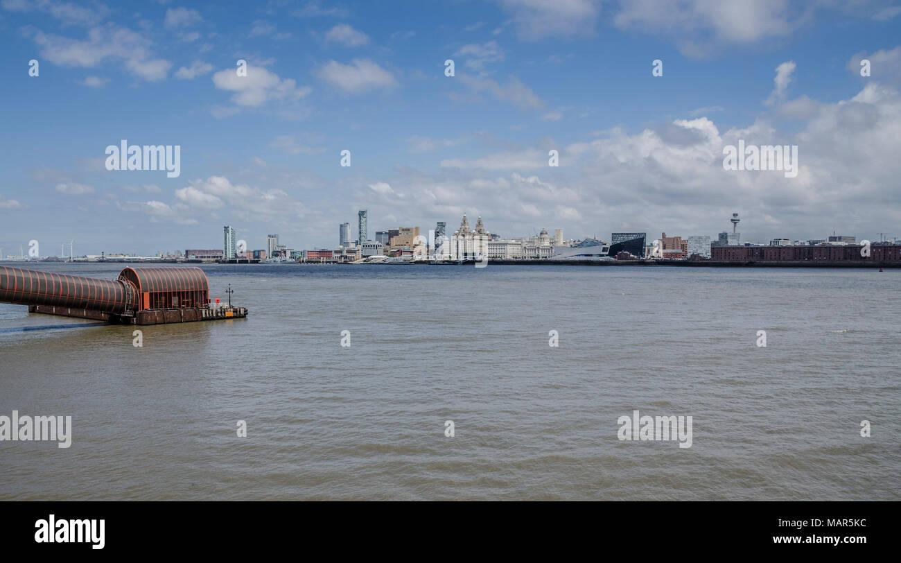 Liverpool skyline from Birkenhead across the Mersey river - Stock Image