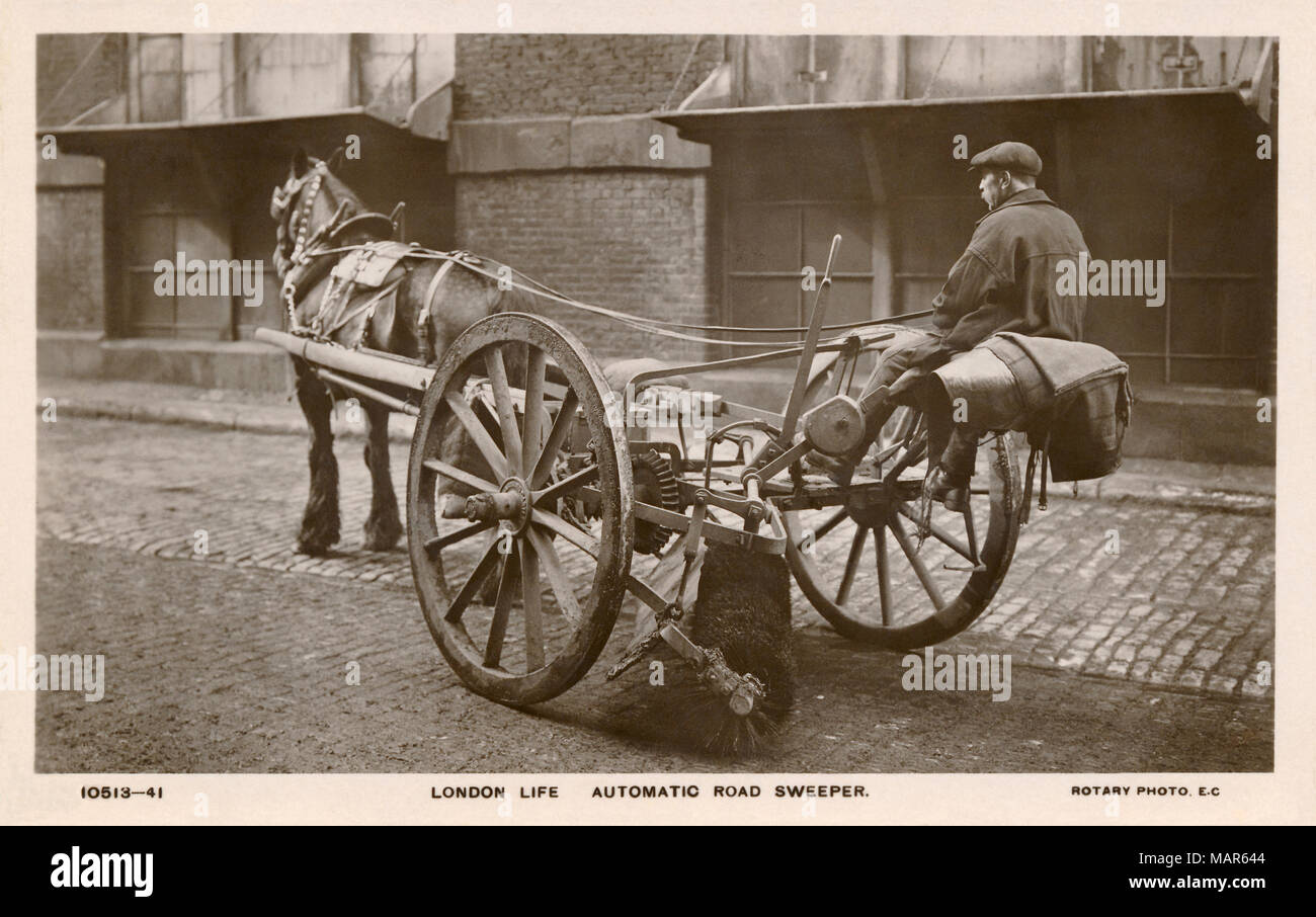 Vintage postcard of an automatic road sweeper from a London Life series of postcards. - Stock Image