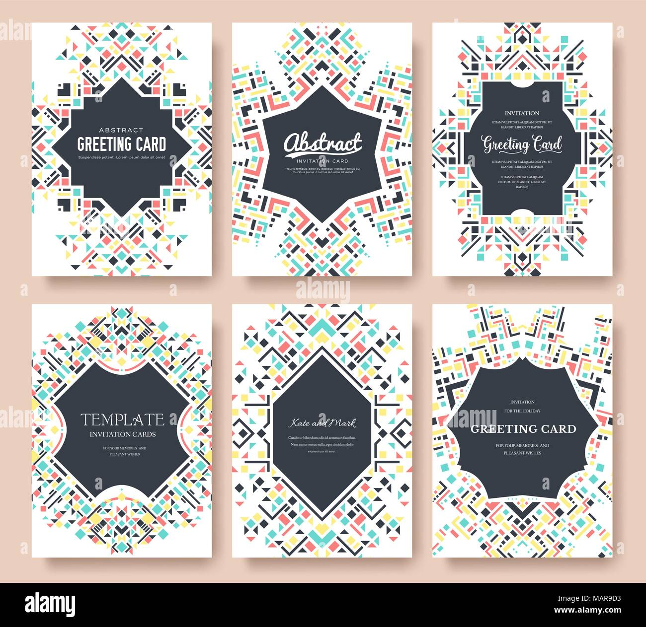 Geometric abstract vector brochure cards set ethnic style template geometric abstract vector brochure cards set ethnic style template of flyear magazines poster book cover banners active lifestyle invitation concept stopboris Choice Image