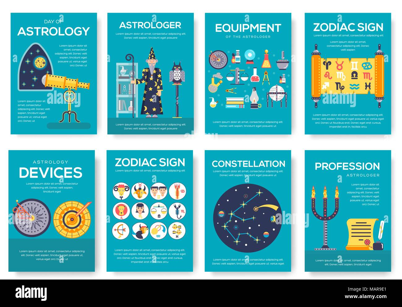 Astrology House Brochure Cards Set Horoscope Template Of Flyear Magazine Poster Book Cover Banner Science People With Equipment Invitation Concept