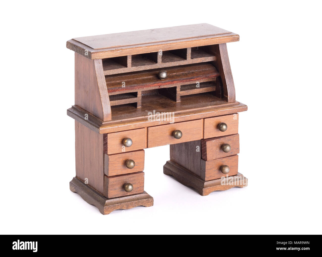 Small Vintage Wooden Desk Isolated On White Stock Photo Alamy