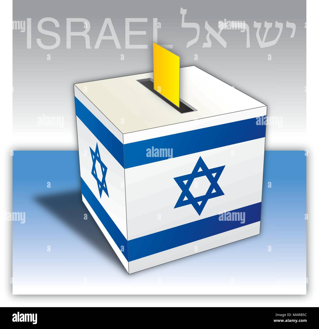 Israel Elections Voting Ballot Box With Flag And Symbols Stock