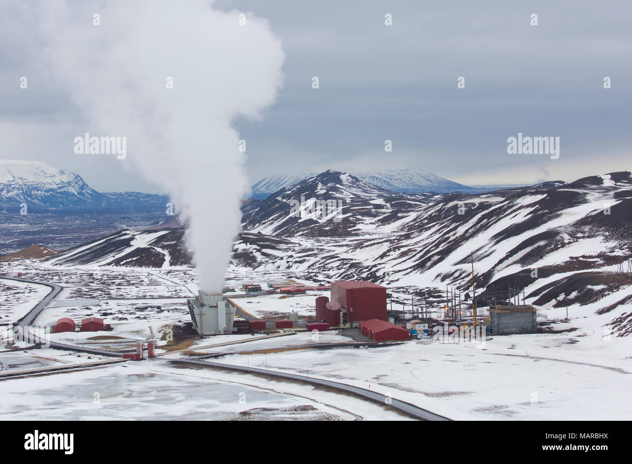 Krafla geothermal power plant, Iceland - Stock Image