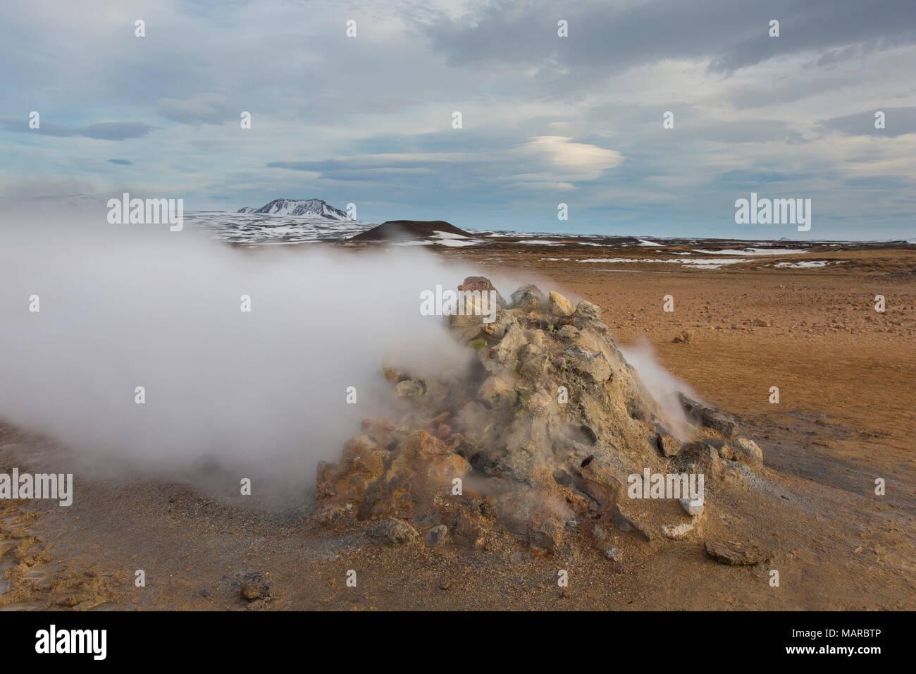 Steaming fumarole at Krafla Caldera, Namafjall, Iceland - Stock Image