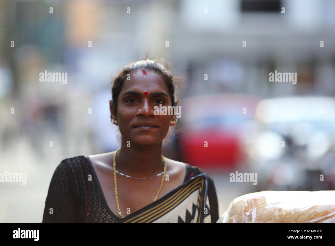 Bangalore, India - October 16, 2016: Portrait of an unknown Eunuch spotted this evening in Residency Road, Bangalore. Stock Photo