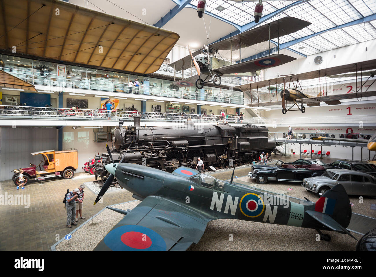 Prague. Czech Republic. Spitfire, Interior of the National Technical Museum NTM (Národní technické muzeum).  Foreground is the British Supermarine Spi - Stock Image