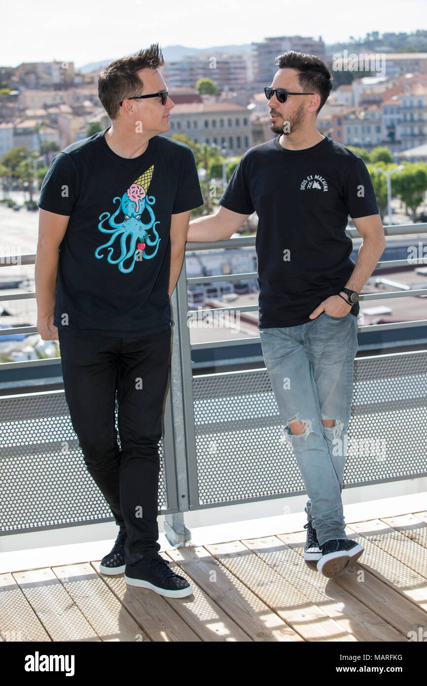 Mark Hoppus and Linkin Park vocalist and producer Mike Shined attend the Photocall Midem 2017, June 7 2017, Cannes, France - Stock Image