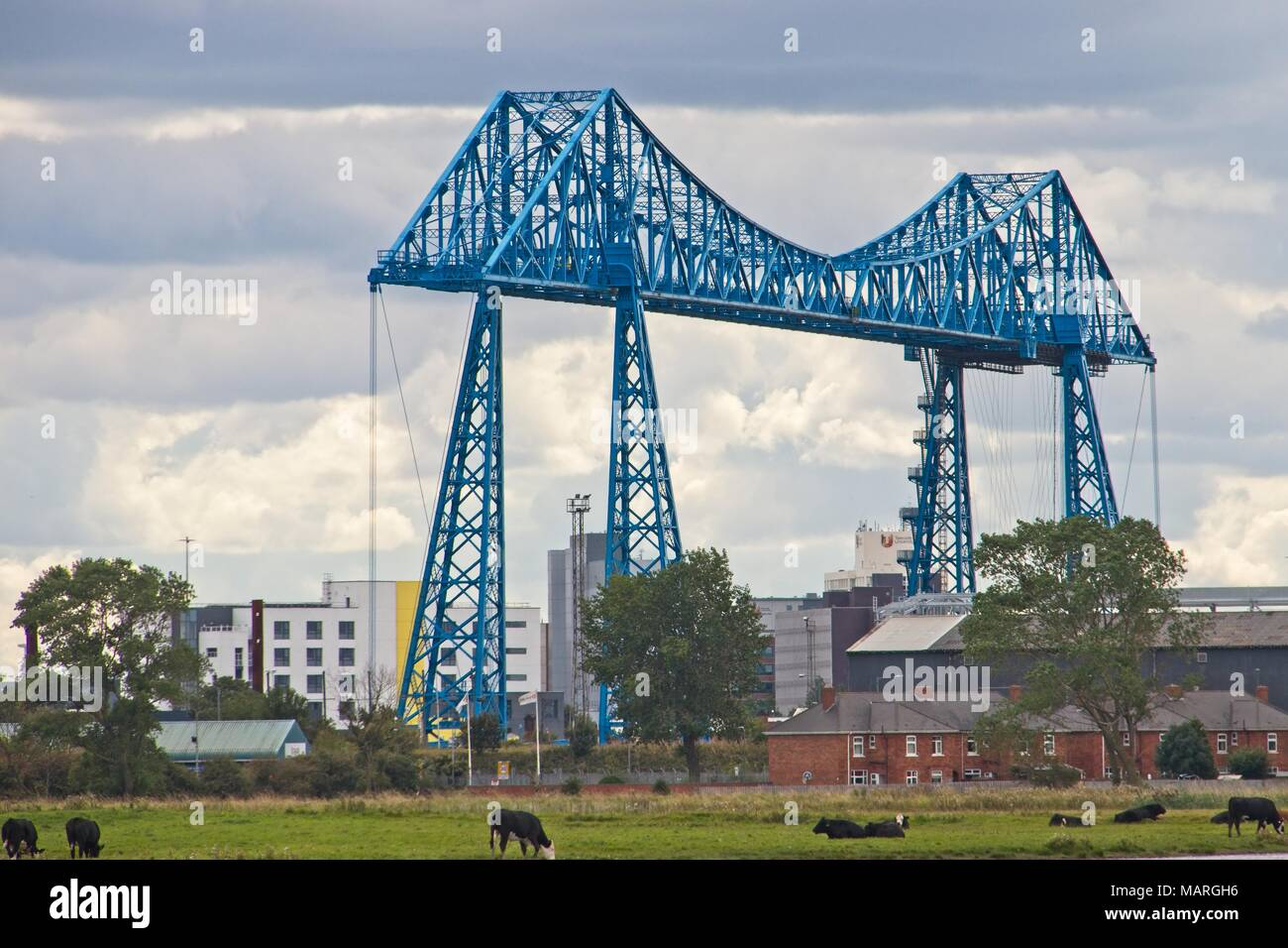 Middlesbrough Transporter Bridge, the longest in the world with its new blue coat of paint. - Stock Image