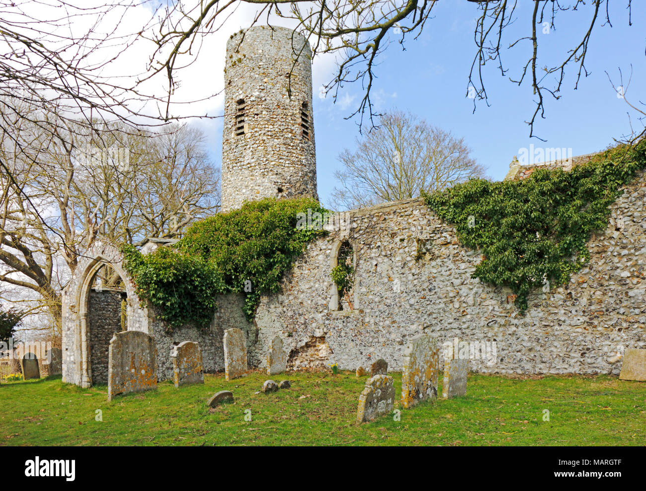 The ruins of the church of St Theobald at Great Hautbois near Coltishall, Norfolk, England, United Kingdom, Europe. - Stock Image