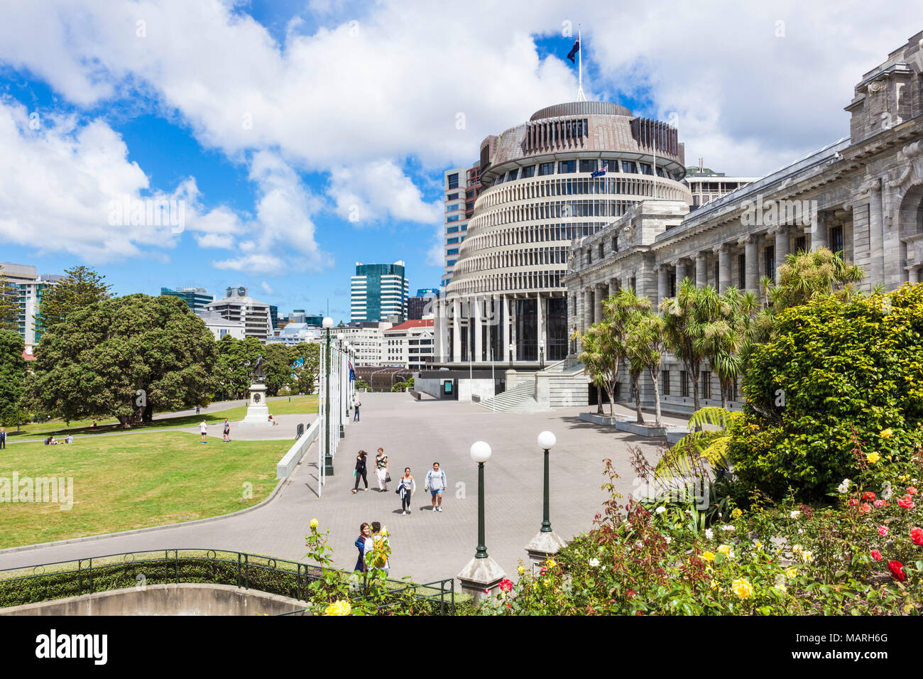 new zealand parliament wellington new zealand The Beehive by Sir Basil Spence  new zealand government buildings Wellington North Island new zealand nz - Stock Image