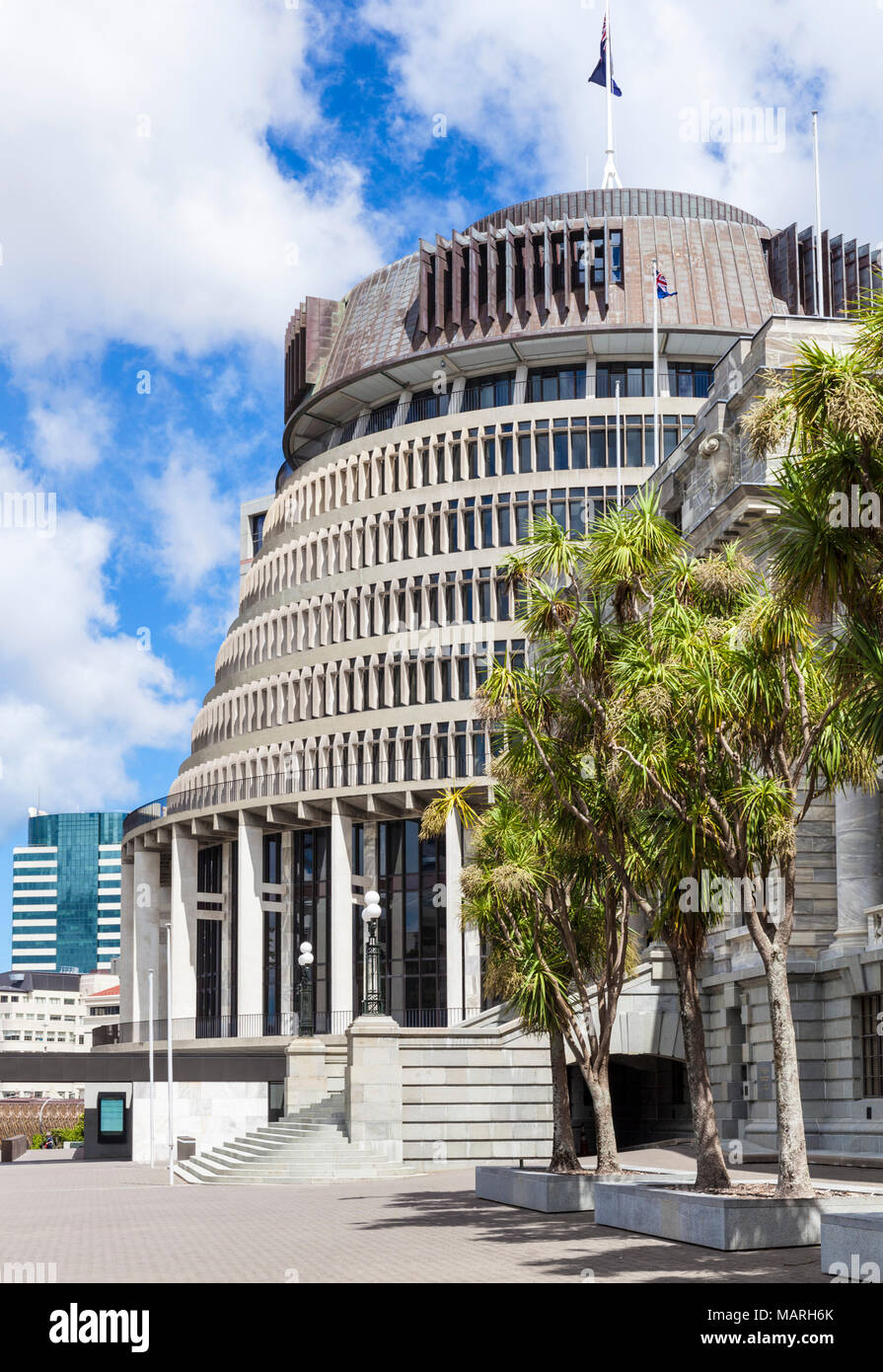new zealand wellington new zealand The  Beehive by Sir Basil Spence  new zealand government buildings Wellington North Island new zealand nz - Stock Image