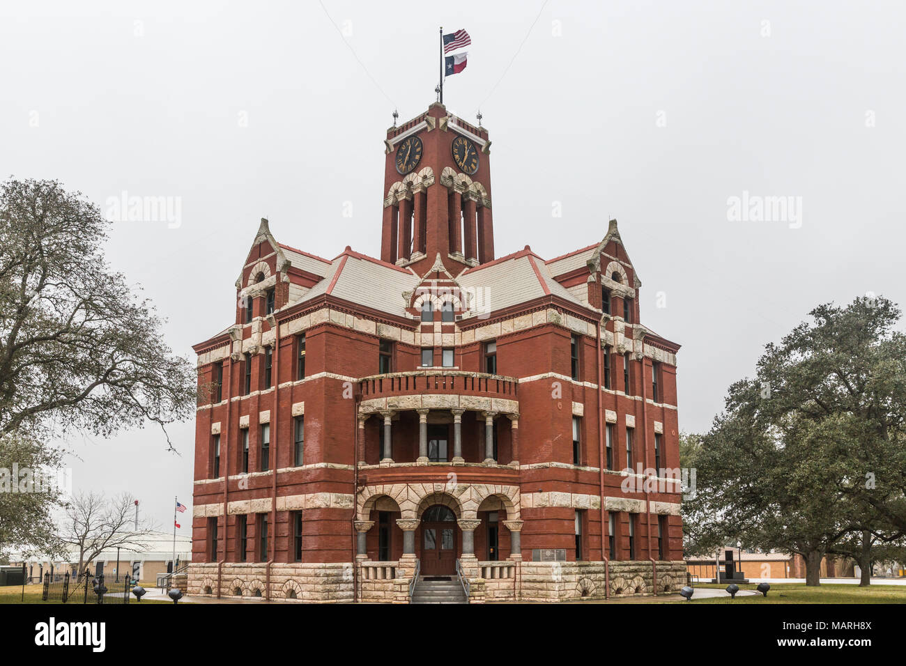 Historical Lee County courthouse in Giddings Texas - Stock Image