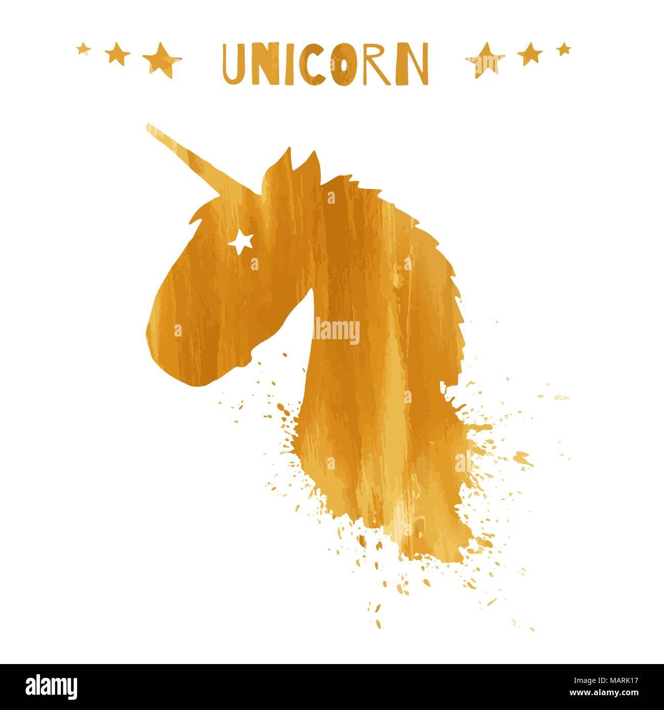 magic unicorn head logo template with golden watercolor splashes