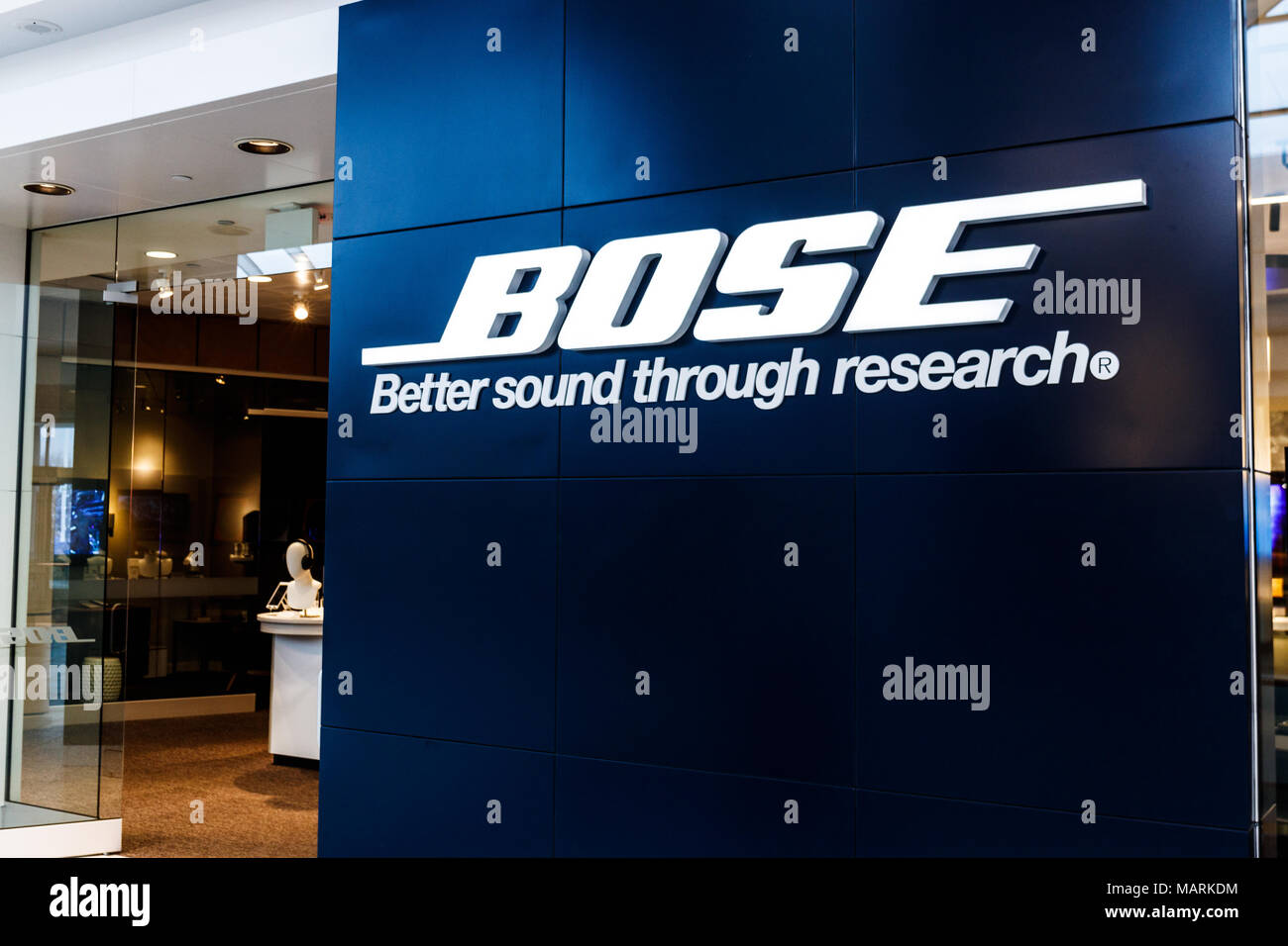 Indianapolis - Circa April 2018: Bose Corporation retail mall location. Bose manufactures high end audio equipment I - Stock Image