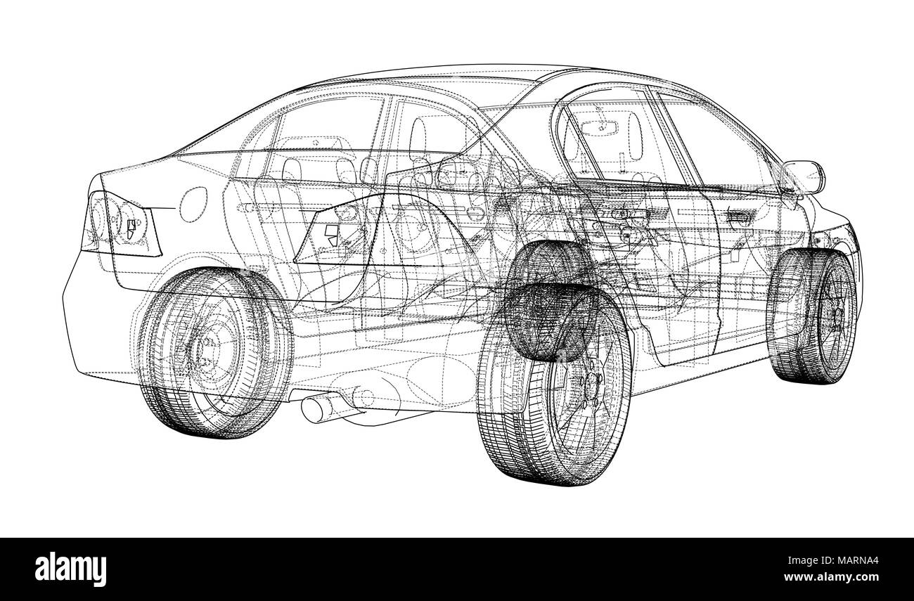 Car wire wheel cut out stock images pictures page 3 alamy concept car blueprint stock image malvernweather Image collections